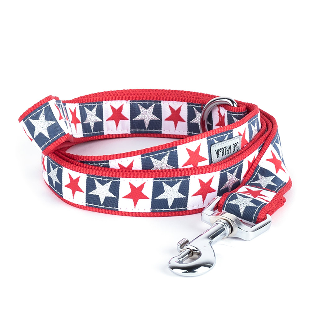 The Worthy Dog Leash, Stars and Stripes, Large (1-in)