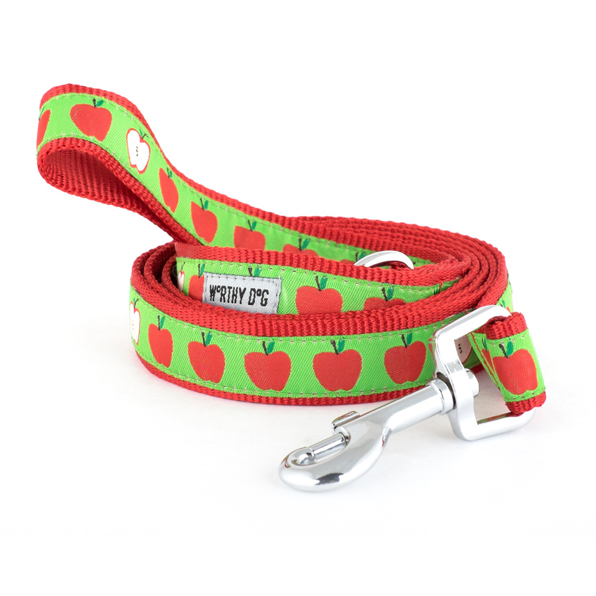 The Worthy Dog Leash, Apples, Small (5/8-in)