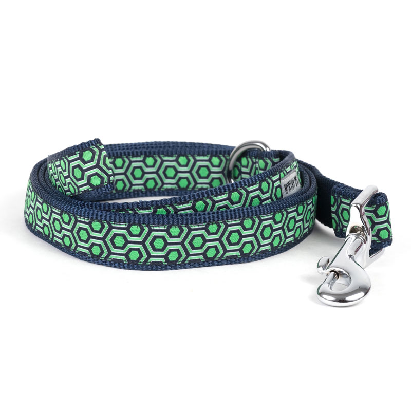 The Worthy Dog Leash, Navy & Green Hexagon, Small (5/8-in)