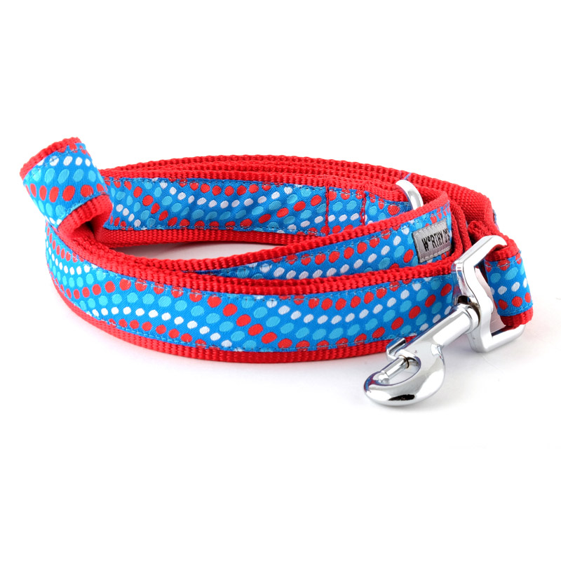 The Worthy Dog Leash, Tidal Wave Red, White and Blue, Small (5/8-in)