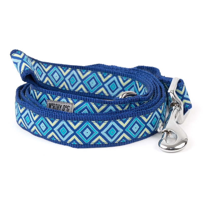 The Worthy Dog Leash, Graphic Diamond Blue, Small (5/8-in)