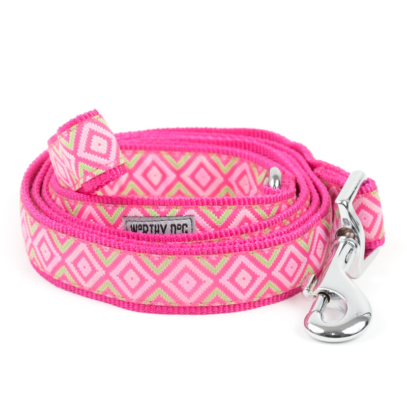 The Worthy Dog Leash, Graphic Diamond Pink, Small (5/8-in)