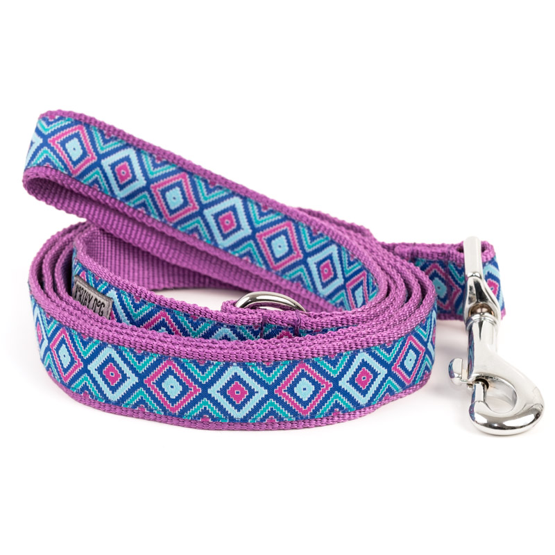 The Worthy Dog Leash, Graphic Diamond Purple, Large (1-in)