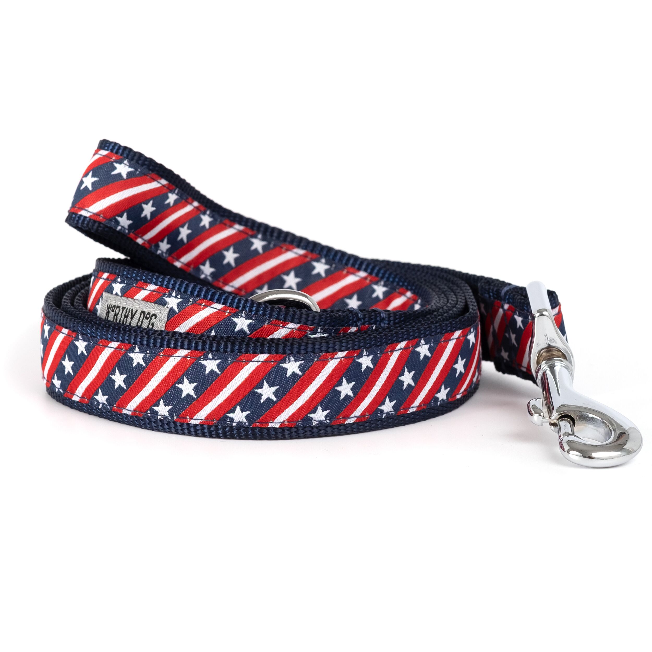 The Worthy Dog Leash, Bias Stars and Stripes, Large (1-in)