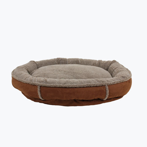 Carolina Pet Company Faux Suede & Tipped Berber Round Comfy Cup Dog Bed, Chocolate, 27-in