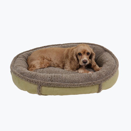 Carolina Pet Company Faux Suede & Tipped Berber Round Comfy Cup Dog Bed, Sage, 27-in