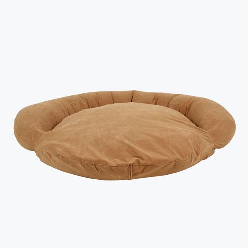 Carolina Pet Company Velvet Microfiber Bolster Dog Bed, Caramel, 35-in