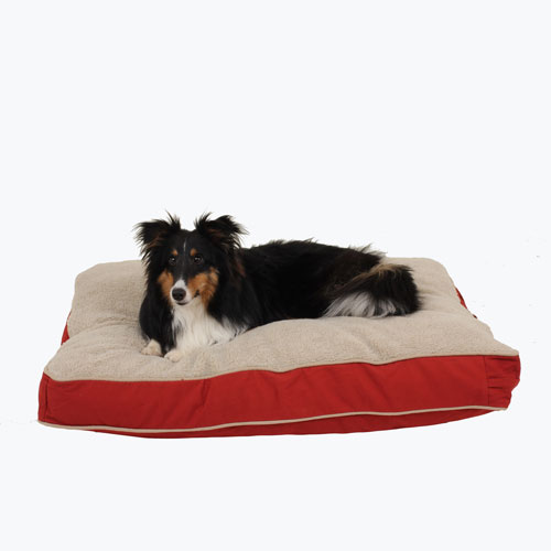Carolina Pet Company Four Season Jamison Napper with Cashmere Top Dog Bed, Red Twill, 27-in x 36-in x 4-in