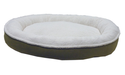Carolina Pet Company Cloud Sherpa & Faux Suede Comfy Cup Dog Bed, Willow, 36-in x 32-in x 6-in