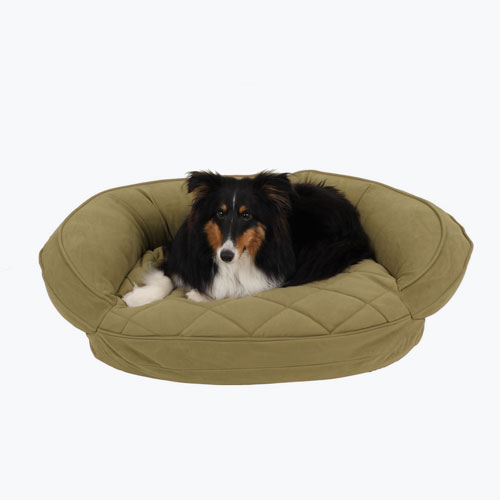 Carolina Pet Company Microfiber Quilted Bolster w/Moisture Barrier Protection Dog Bed, Sage, 30-in x 24-in x 8-in