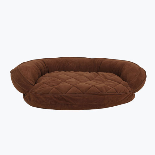 Carolina Pet Company Microfiber Quilted Bolster w/Moisture Barrier Protection Dog Bed, Chocolate, 42-in x 30-in x 10-in