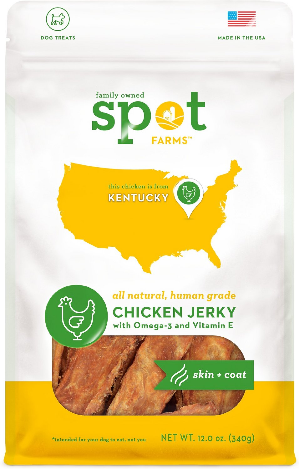 Spot Farms Chicken Jerky Skin & Coat Formula Dog Treats, 12-oz bag