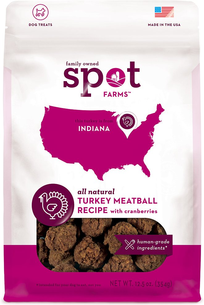 Spot Farms Turkey Meatball Recipe with Cranberries Dog Treats, 12.5-oz bag