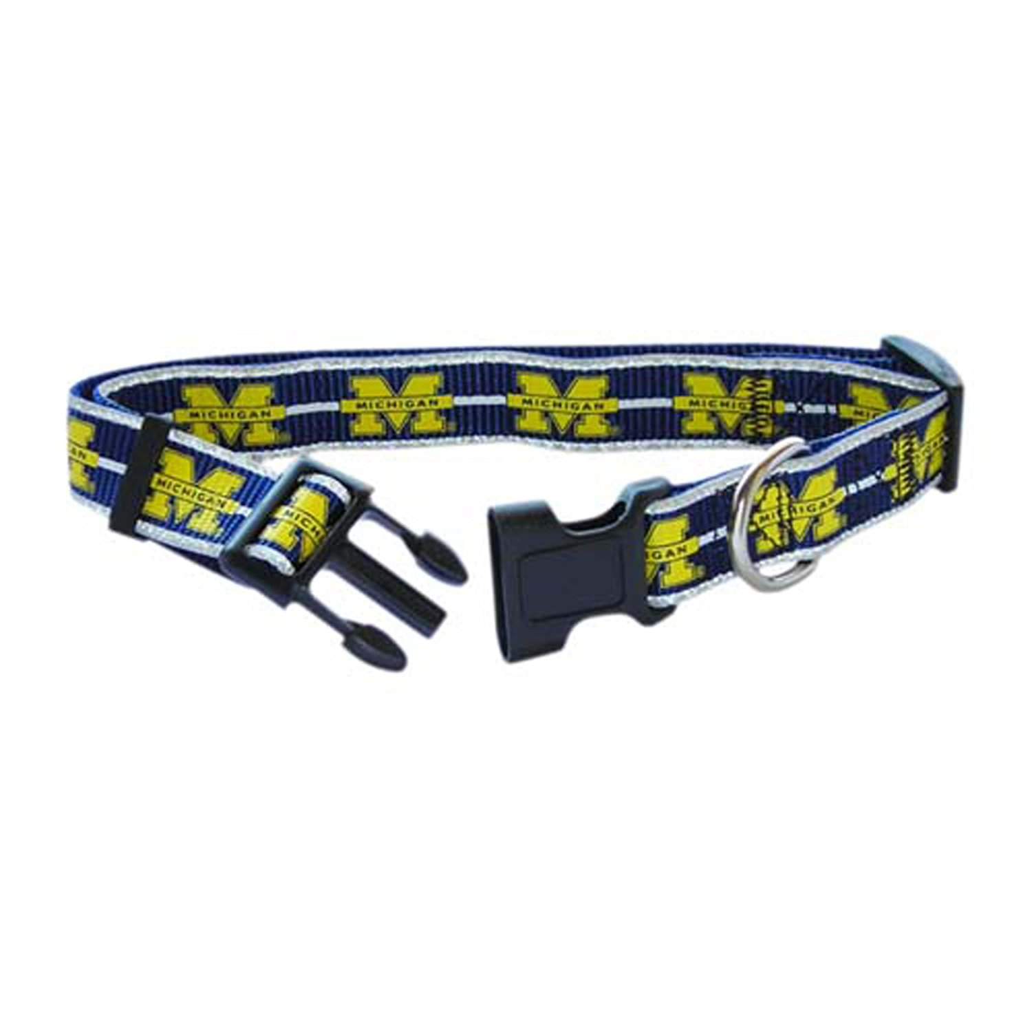 Pet Goods Manufacturing Reflective Dog Collar, Michigan Wolverines, Small