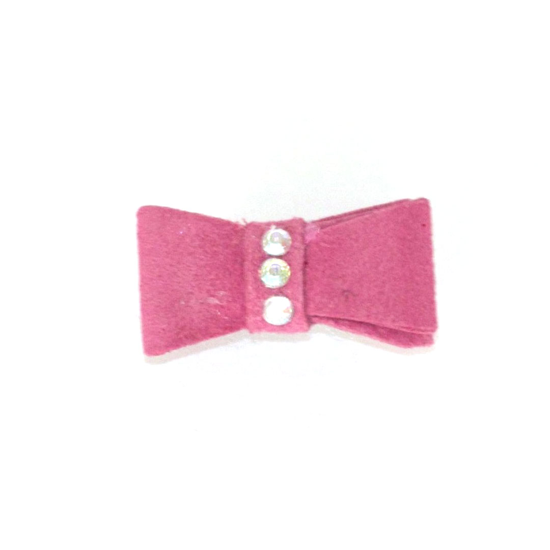 The Dog Squad Recycled Ultra Suede Hair Bows for Dogs, Fuschia