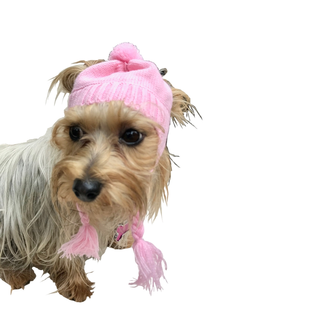 The Dog Squad Scottish Cable Knit Hat, Pink, XX-Small/X-Small, XX-Small/X-Small