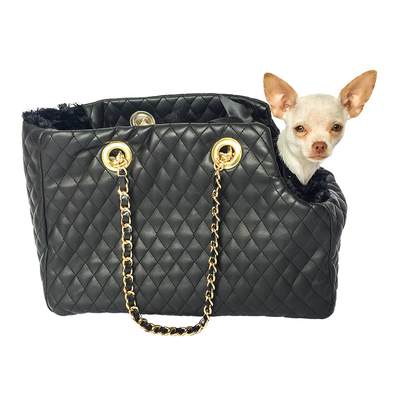The Dog Squad Kate Dog Carrier with Chain Straps, Black Quilted