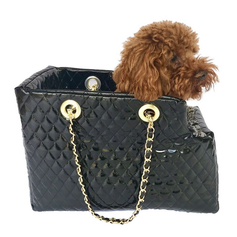 The Dog Squad Kate Dog Carrier with Chain Straps, Black Patent Quilted