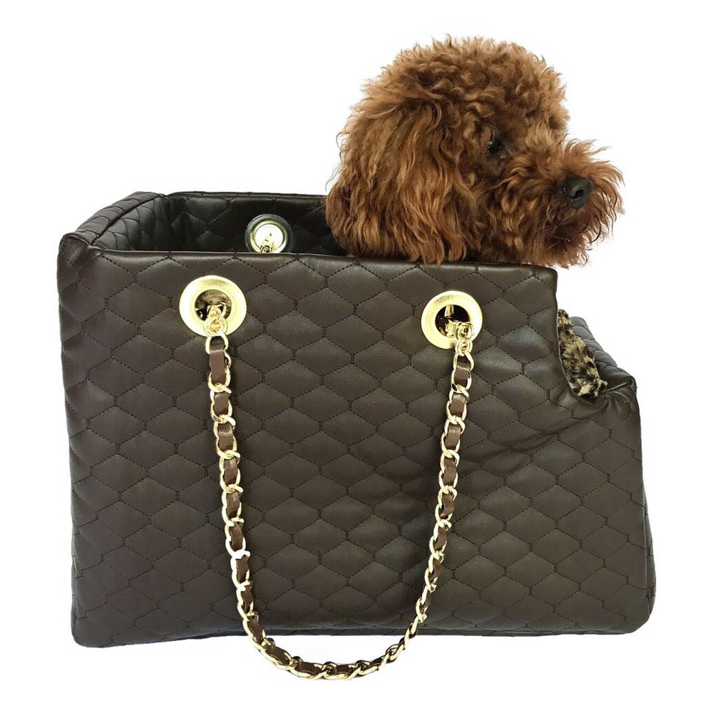 The Dog Squad Kate Dog Carrier with Chain Straps, Chocolate Quilted