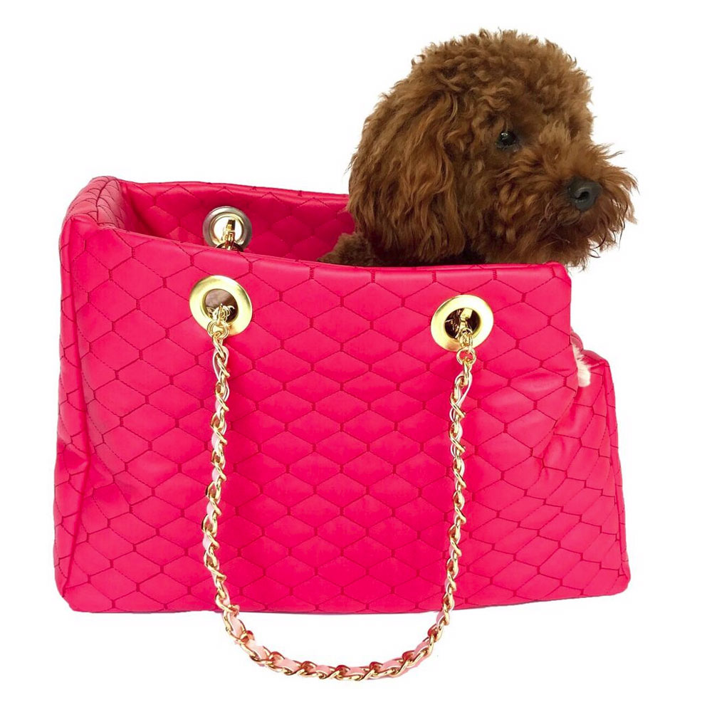 The Dog Squad Kate Dog Carrier with Chain Straps, Watermelon Quilted