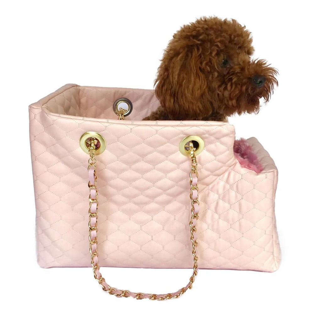 The Dog Squad Kate Dog Carrier with Chain Straps, Lt. Pink Quilted