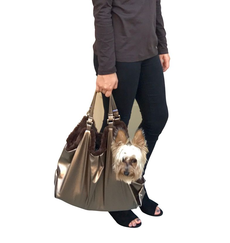 The Dog Squad Hollywood Tote Dog Carrier, bronze snake