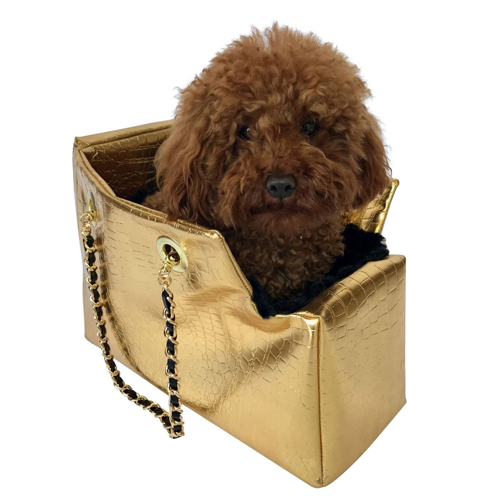 The Dog Squad Kate Dog Carrier with Chain Straps, Gold Croc