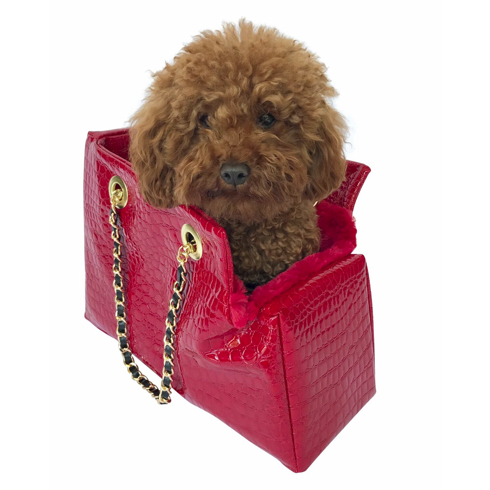 The Dog Squad Kate Dog Carrier with Chain Straps, Red Croc