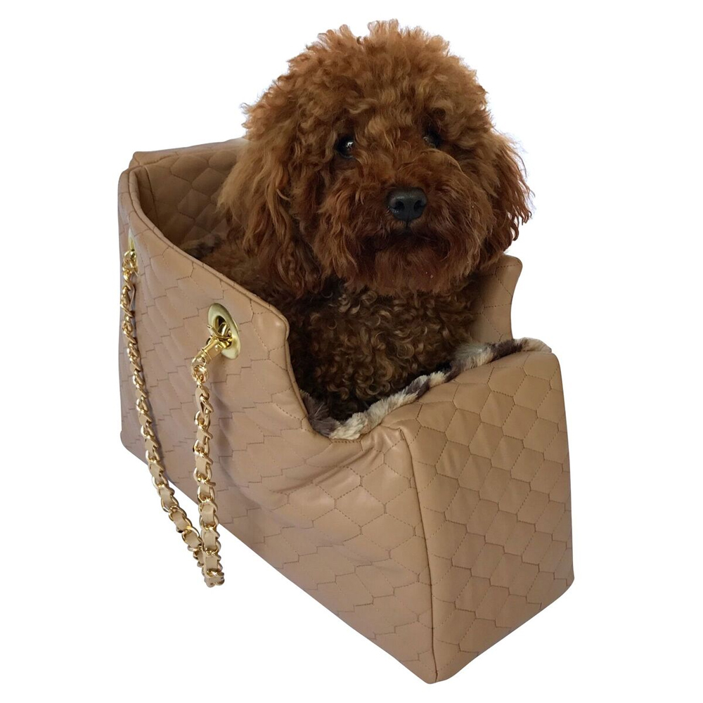 The Dog Squad Kate Dog Carrier with Chain Straps, Tan Quilted