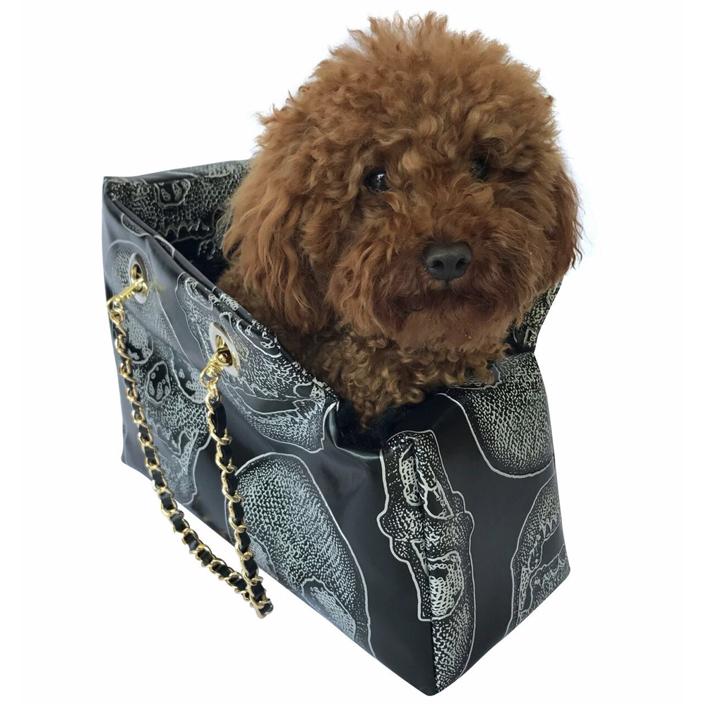 The Dog Squad Kate Dog Carrier with Chain Straps, Skull