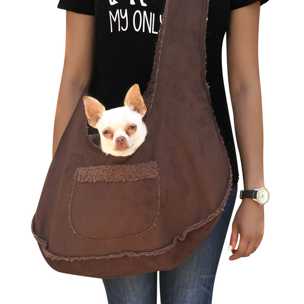The Dog Squad Boho Bonded Micro Suede Sling Bag Dog Carrier, Chocolate