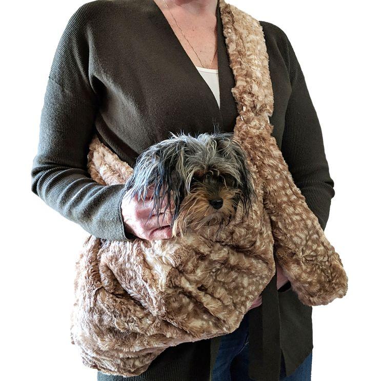 The Dog Squad Adjustable Furbaby Sling Bag Dog Carrier, Fawn