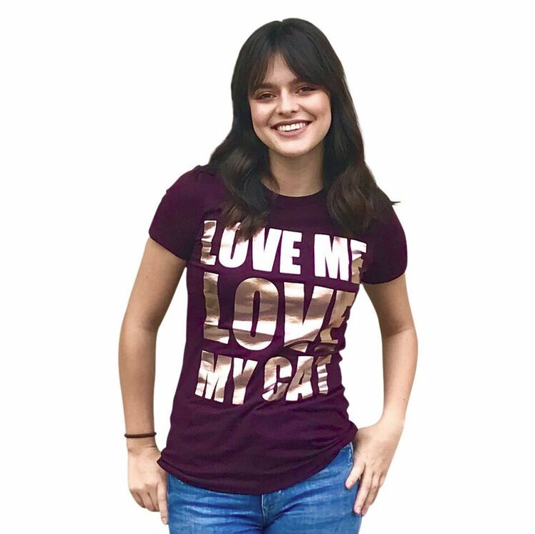 The Dog Squad T-Shirt for Humans, Love Me Love My Cat, Plum