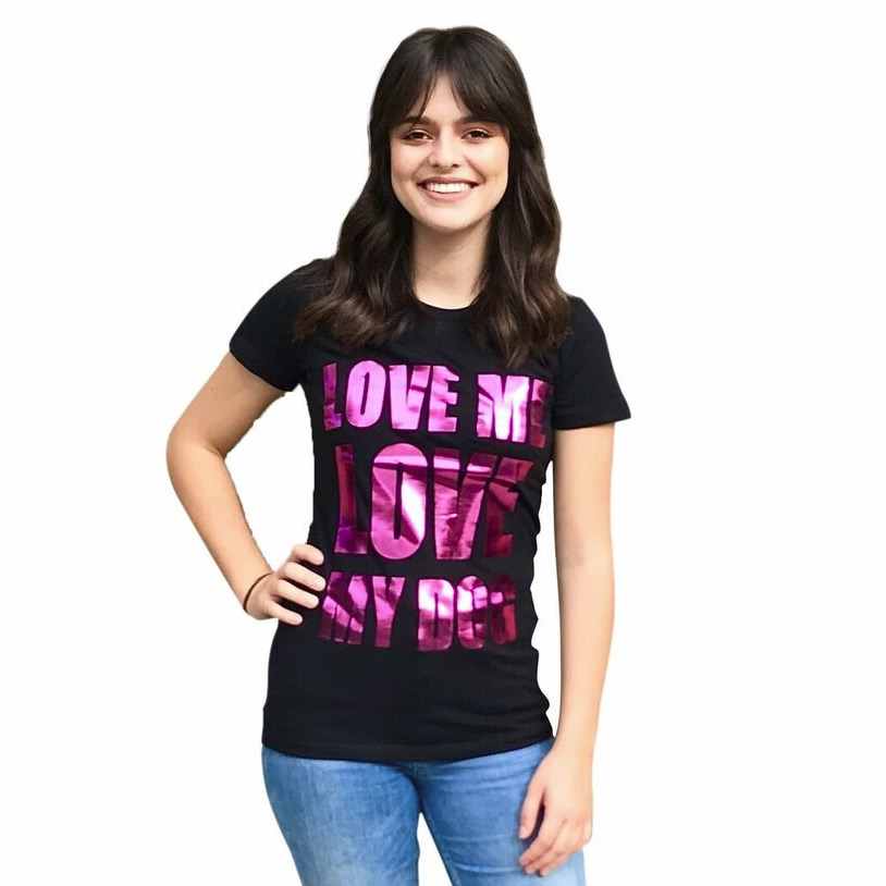 The Dog Squad T-Shirt for Humans, Love Me Love My Dog, Black & Fuschia