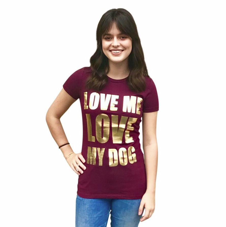 The Dog Squad T-Shirt for Humans, Love Me Love My Dog, Burgundy
