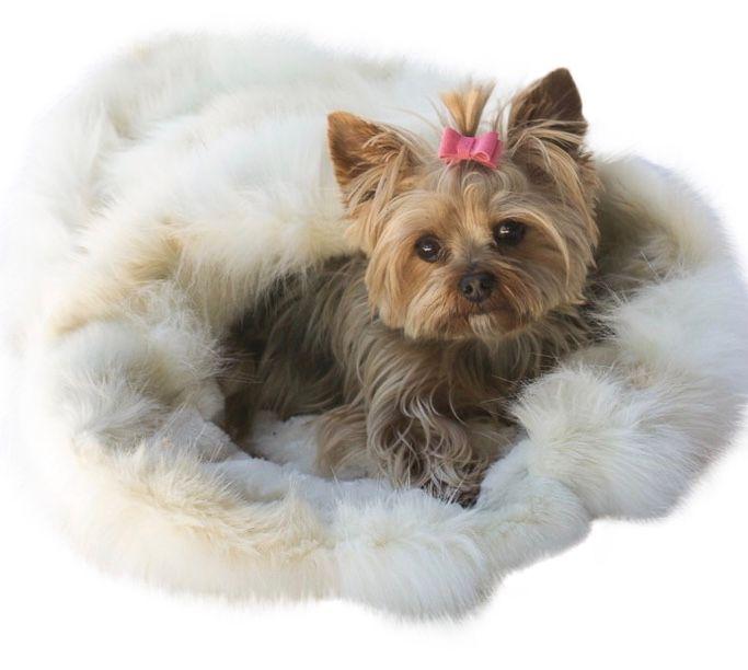 The Dog Squad Cozy Sak Plush Dog Bed, Luxe Arctic Fox