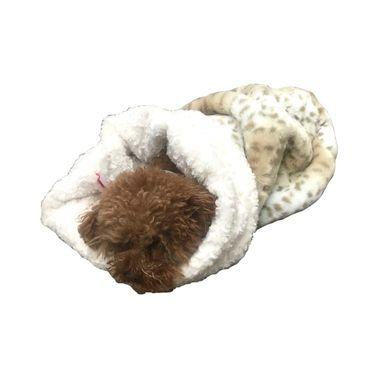 The Dog Squad Cozy Sak Plush Dog Bed, Sno Leopard