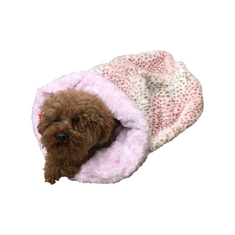 The Dog Squad Cozy Sak Plush Dog Bed, Pink Leopard