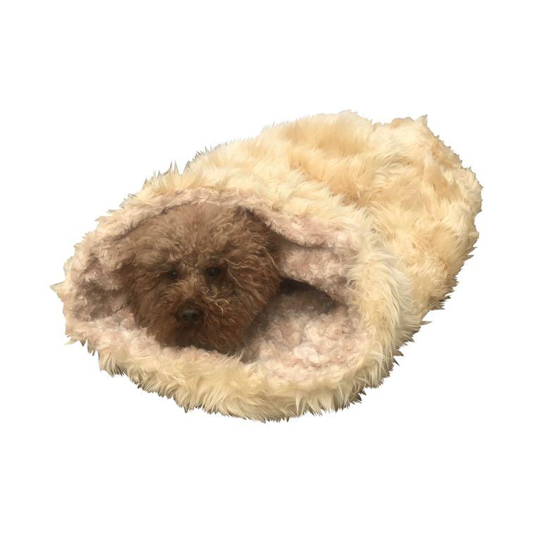 The Dog Squad Cozy Sak Plush Dog Bed, Shag Caramel