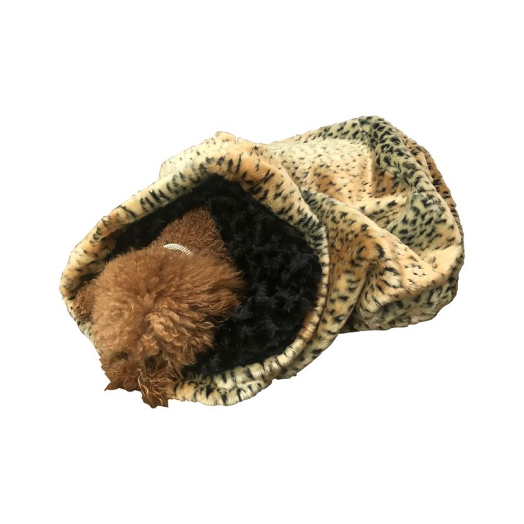 The Dog Squad Cozy Sak Plush Dog Bed, Brown Linx