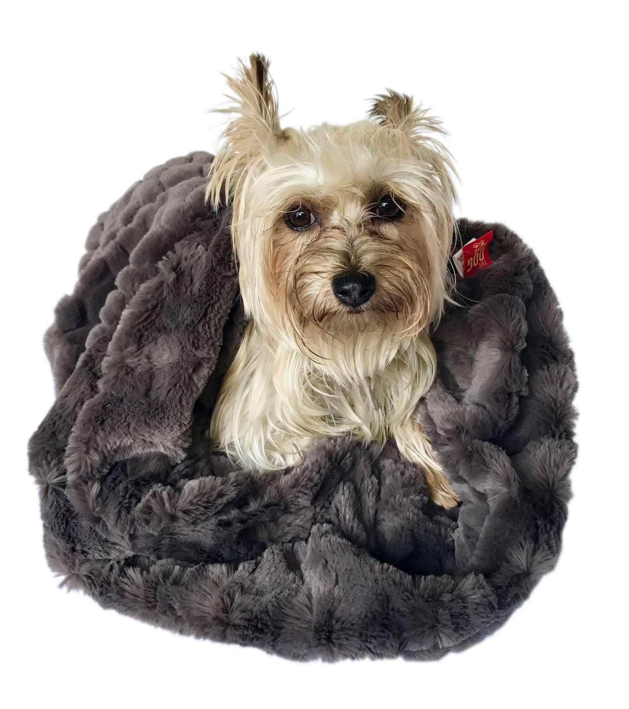 The Dog Squad Cozy Sak Plush Dog Bed, Koala & Charcoal Bella