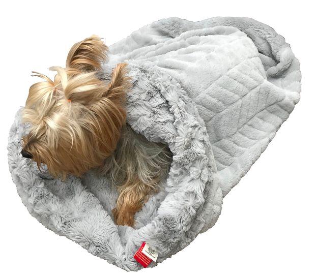 The Dog Squad Cozy Sak Plush Dog Bed, Koala & Bella Silver