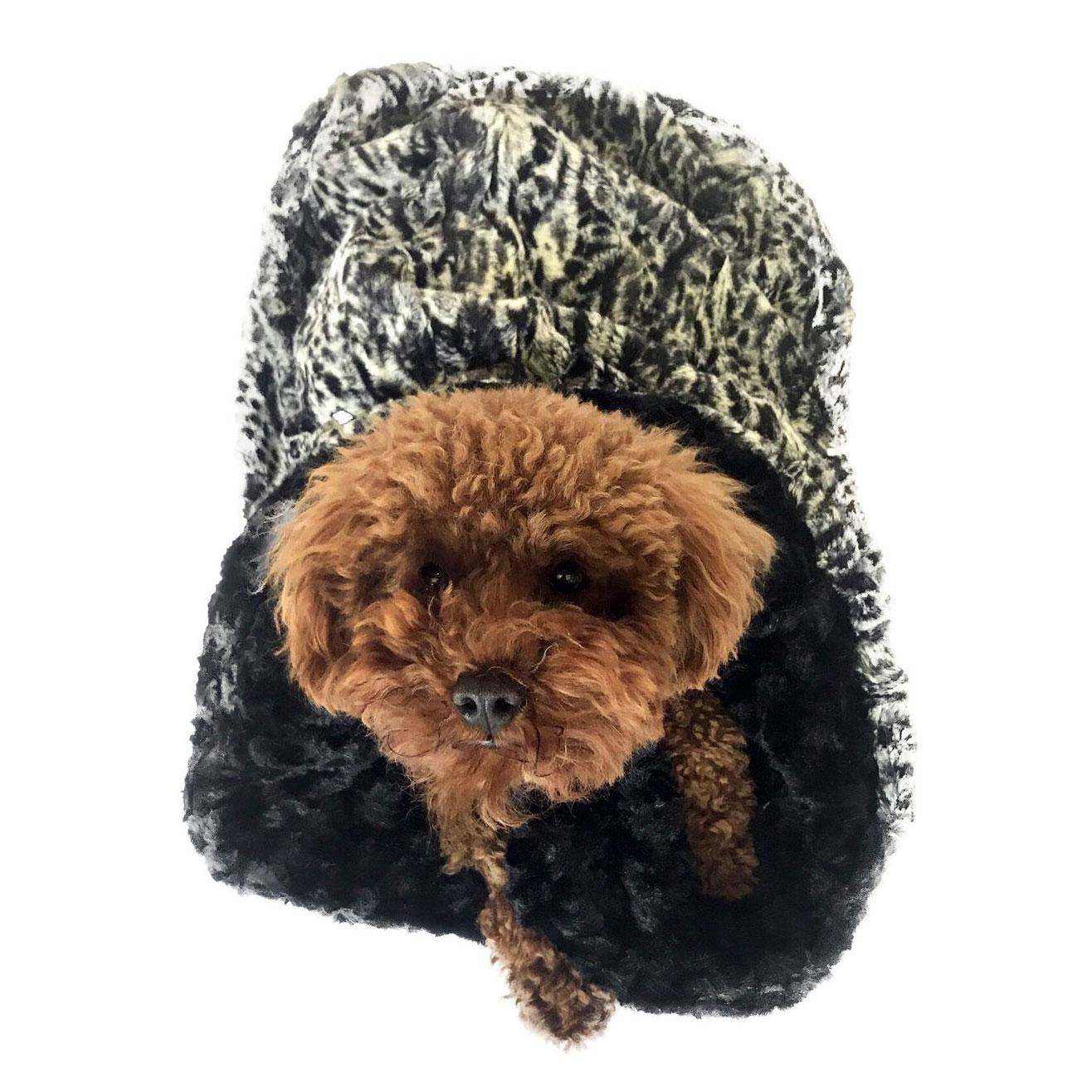 The Dog Squad Cozy Sak Plush Dog Bed, Black Spotted Leopard