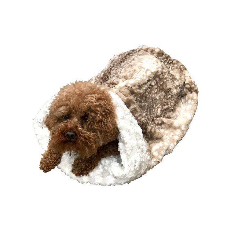 The Dog Squad Cozy Sak Plush Dog Bed, Fawn Lightweight