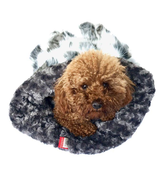 The Dog Squad Cozy Sak Plush Dog Bed, Luxe Arctic Fox Grey