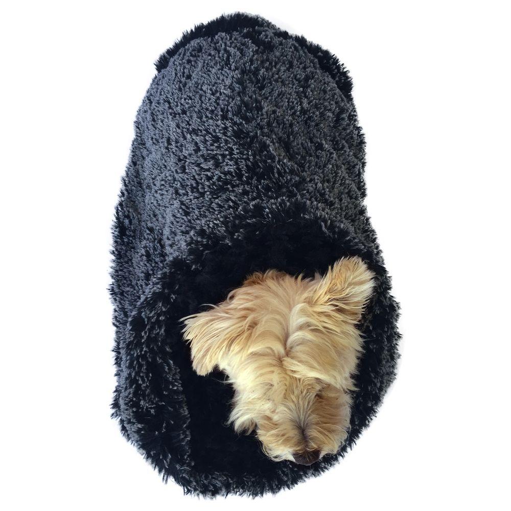 The Dog Squad Cozy Sak Plush Dog Bed, Powder Puff Black & White