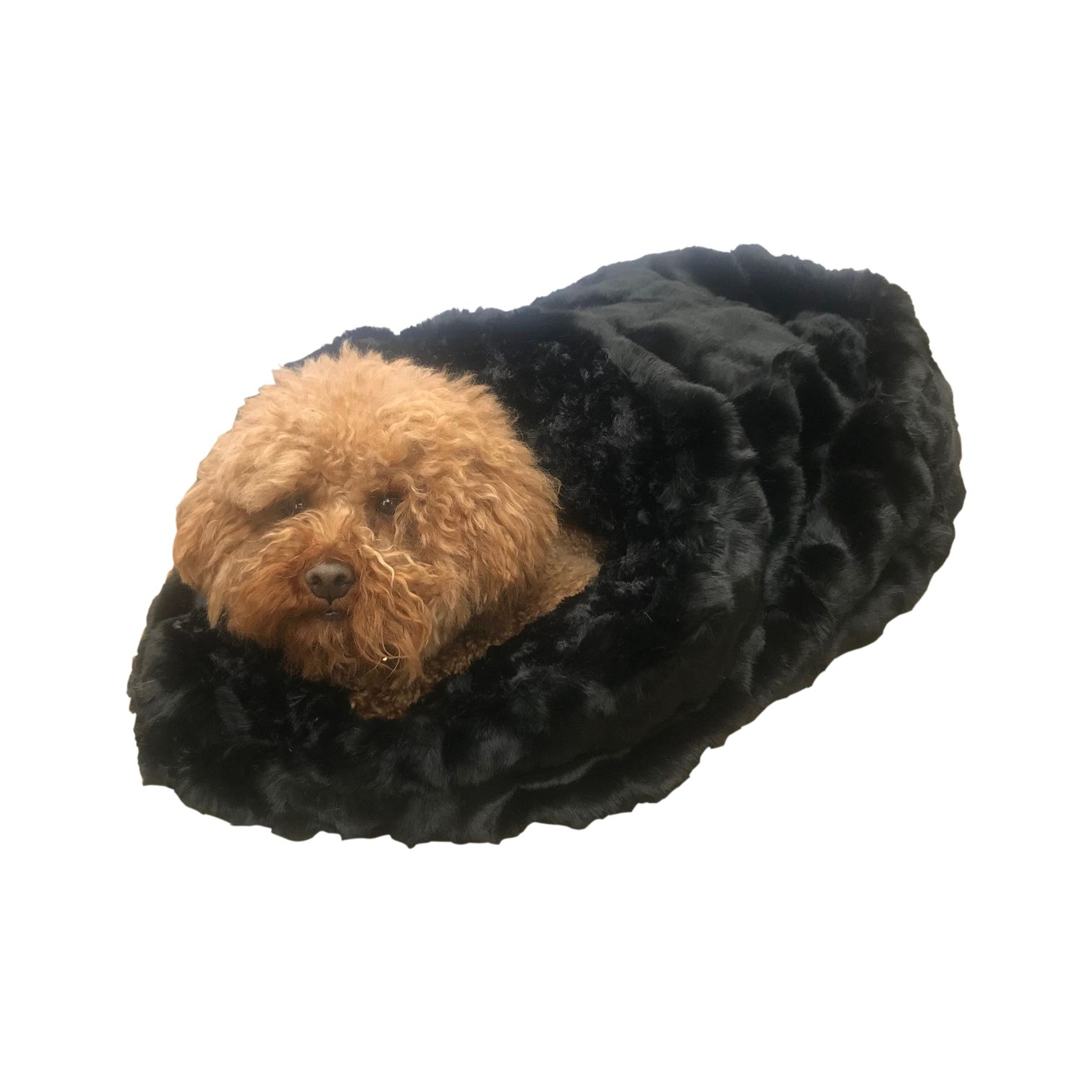 The Dog Squad Cozy Sak Plush Dog Bed, Black Mink