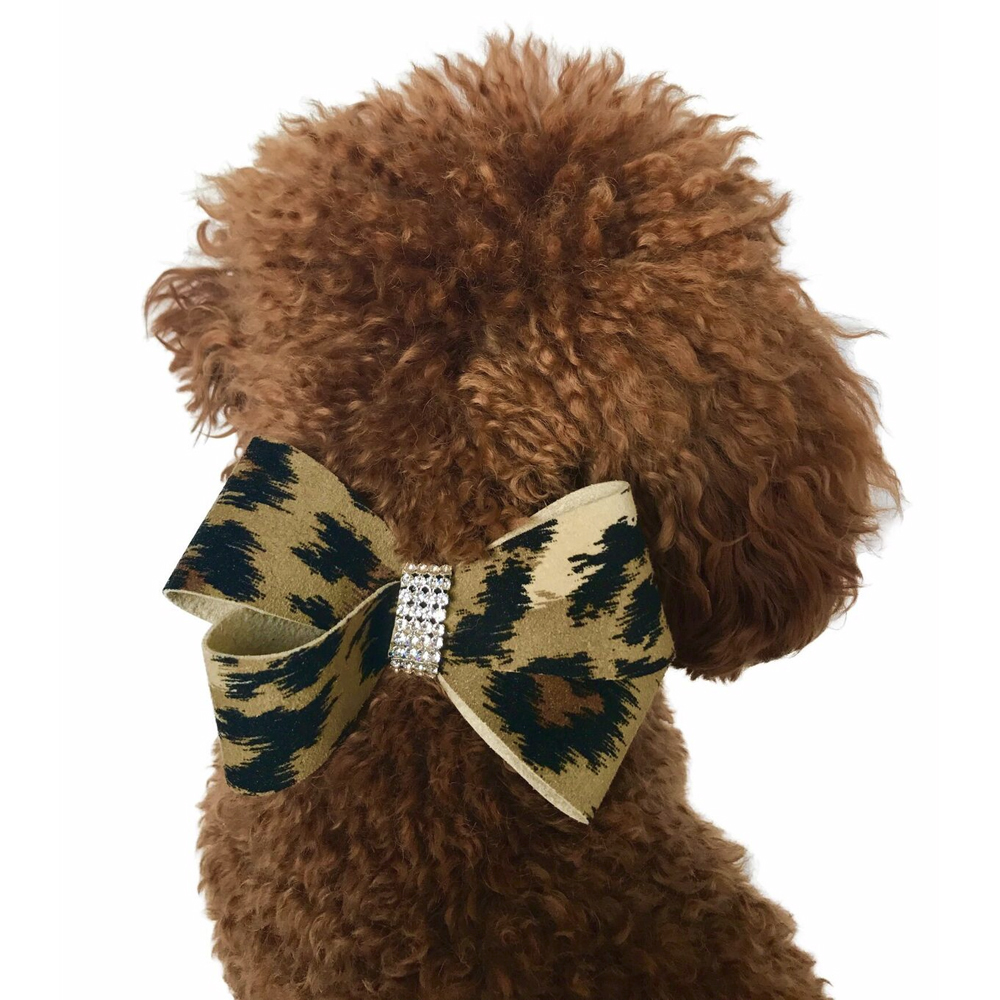 The Dog Squad Westminster Grand Champion Bow Collar Slider, Leopard