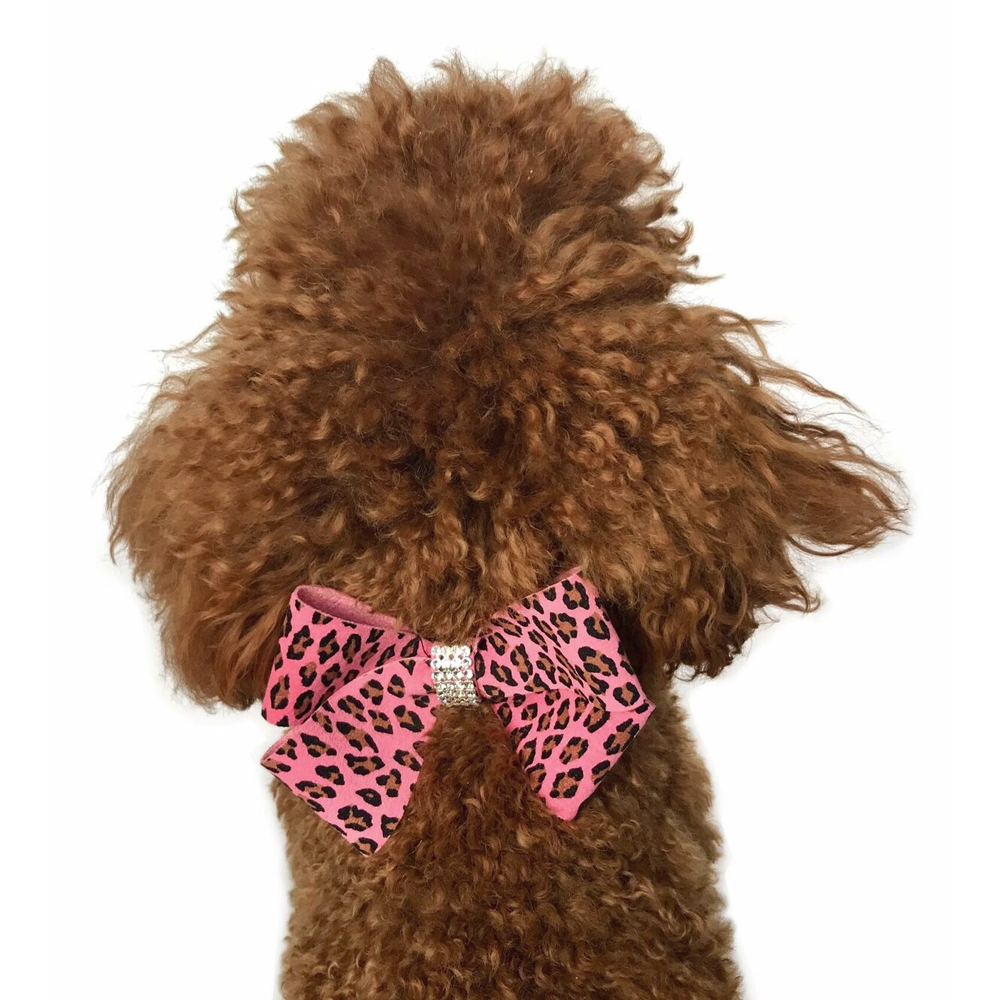 The Dog Squad Westminster Grand Champion Bow Collar Slider, Pink Leopard