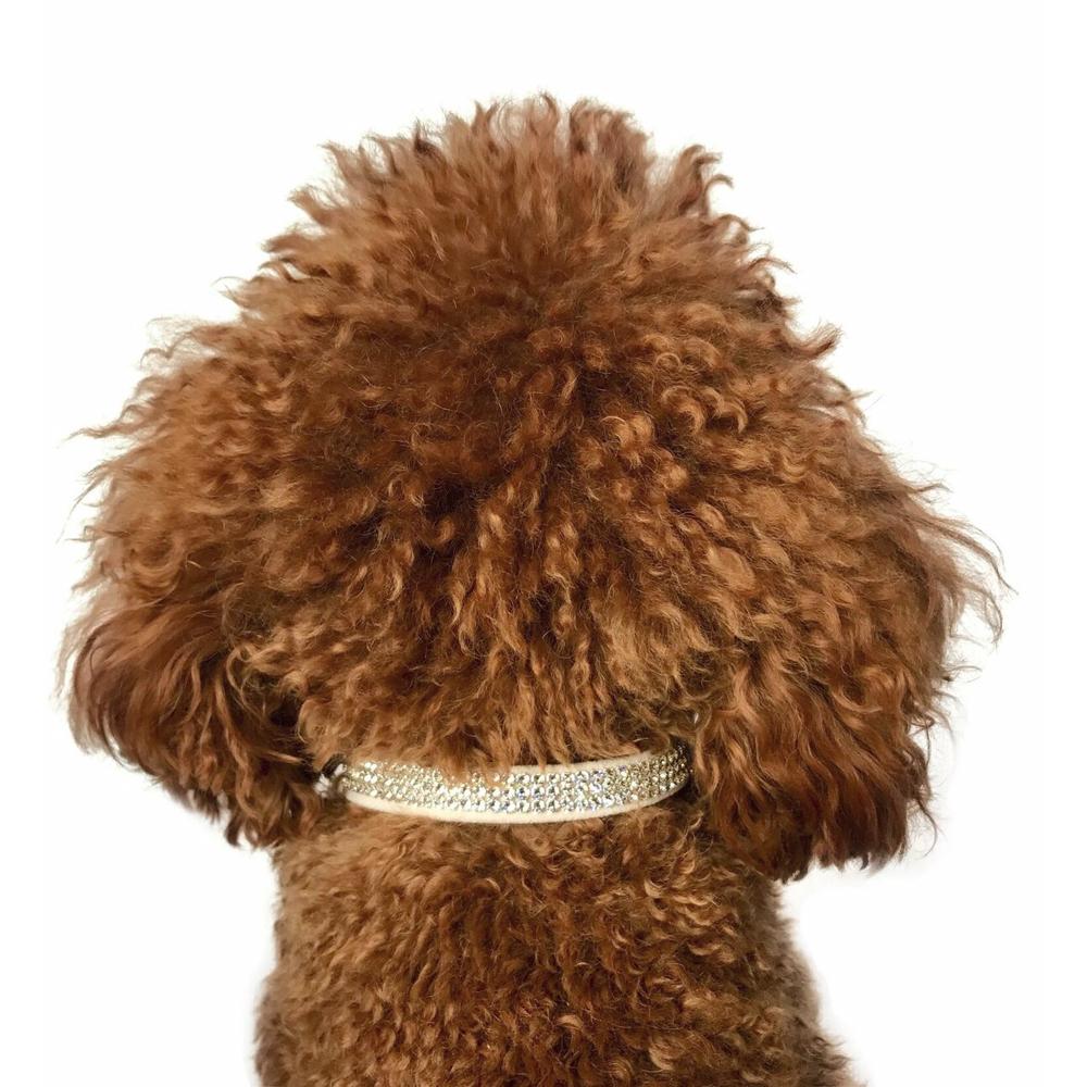 The Dog Squad Movie Star Dog Collar with 3 Row Swarovski, Blush Pink, XX-Small, XX-Small